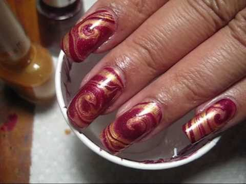 Red & Gold Swirl Water Marble Nail Art Tutorial - YouTube, Finally got the blog post up - more pics can be seen here: http://mysimplelittlepleasures.blogspot.com/2011/02/notd-red-gold-swirl-wate-marble.html Nail poli...