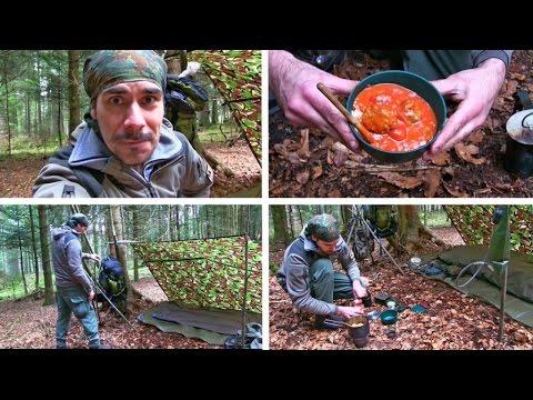 Übernachtung im Wald mit leckeren Hackfleischbällchen in Tomatensoße zum Abendessen