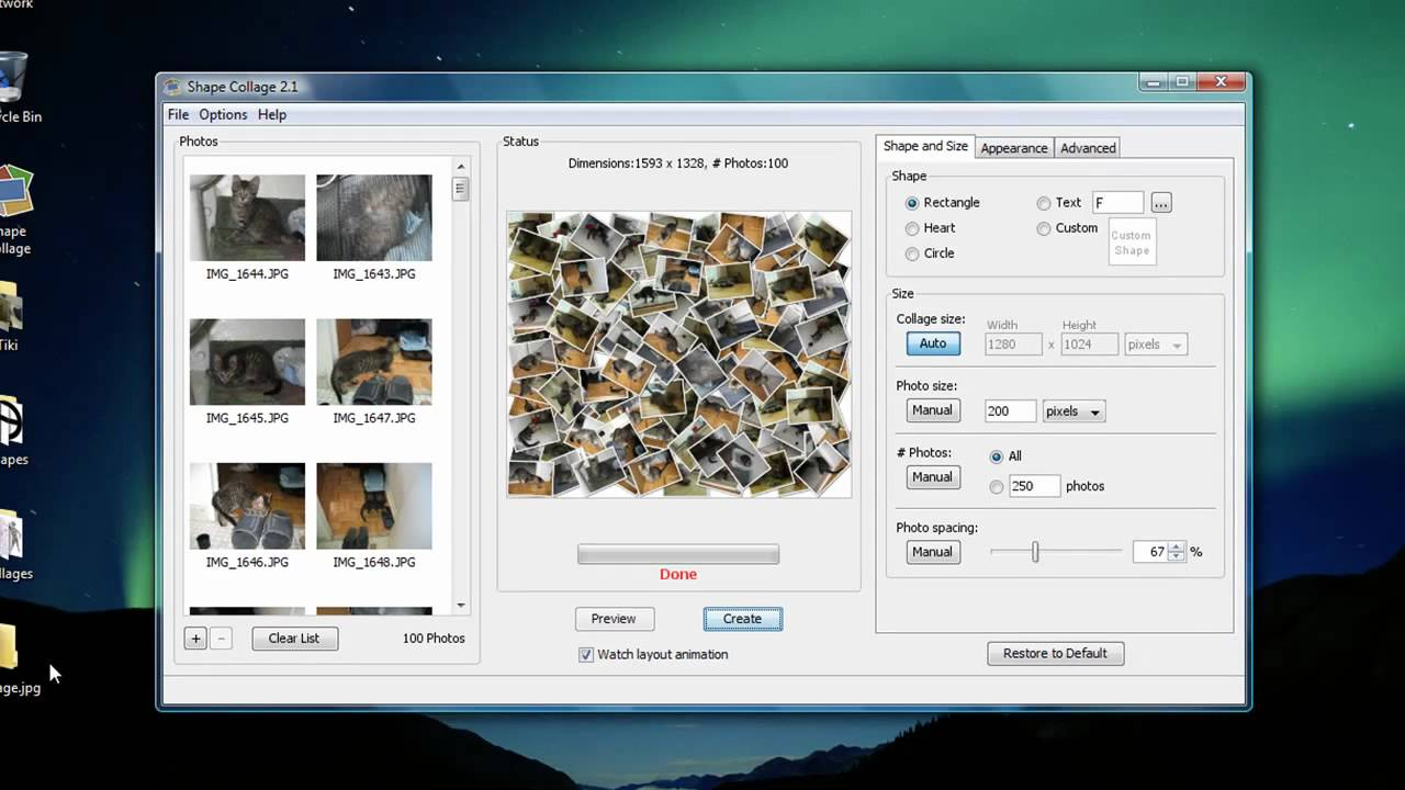 Photo collage with windows 7 software (photo Gallery)