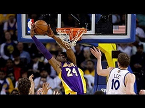 Kobe Bryant's double-clutch reverse dunk!