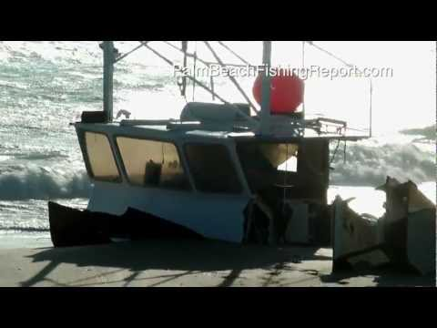Commercial Fishing Boat Wrecks on Beach Near Ft.Pierce Florida