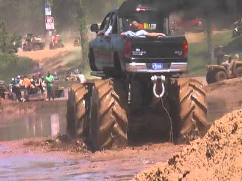 chris's Dodge on 35.5 32s at louisiana mud fest trucks gone wild 2011