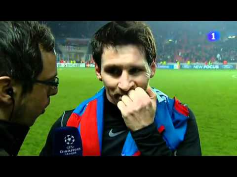 Viktoria Plzen 0-4 FC Barcelona - Interview with Lionel Messi 'hat-trick' 1/11/2011