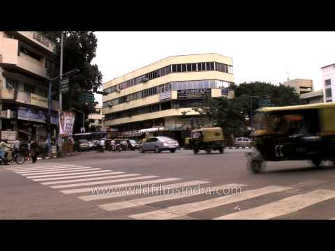 Bangalore Metropolitan Transport Corporation buses in the street