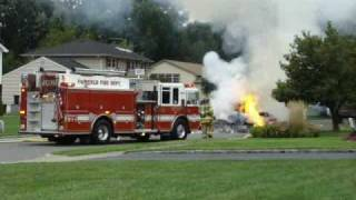 Garbage Truck Drops Flaming Load In Fairfield, NJ