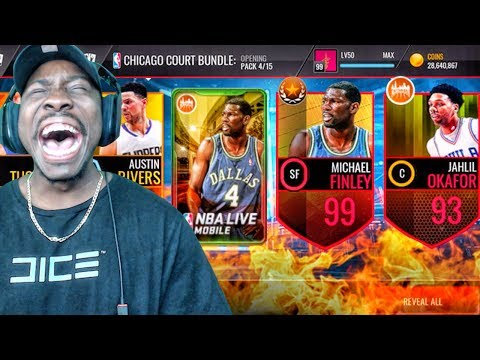 NEW 99 OVR MICHAEL FINLEY & CHICAGO PACK OPENING! NBA Live Mobile Gameplay Ep. 143