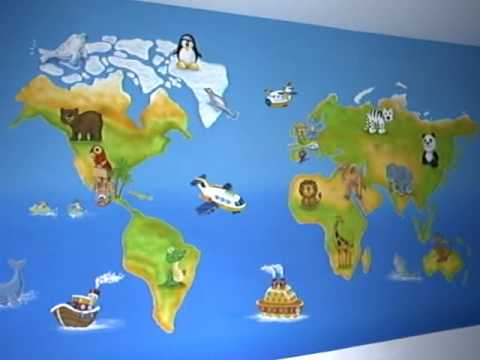 Mural decorativo mapamundi didactico polanco m xico d f - Mapa mundi mural ...