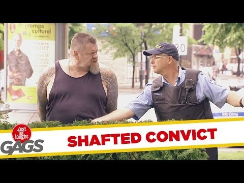 Crazy Cop Tugs at Convict's Wiener