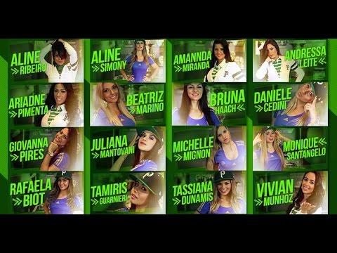 Candidatas a Miss do Centenário cantam o hino do Palmeiras