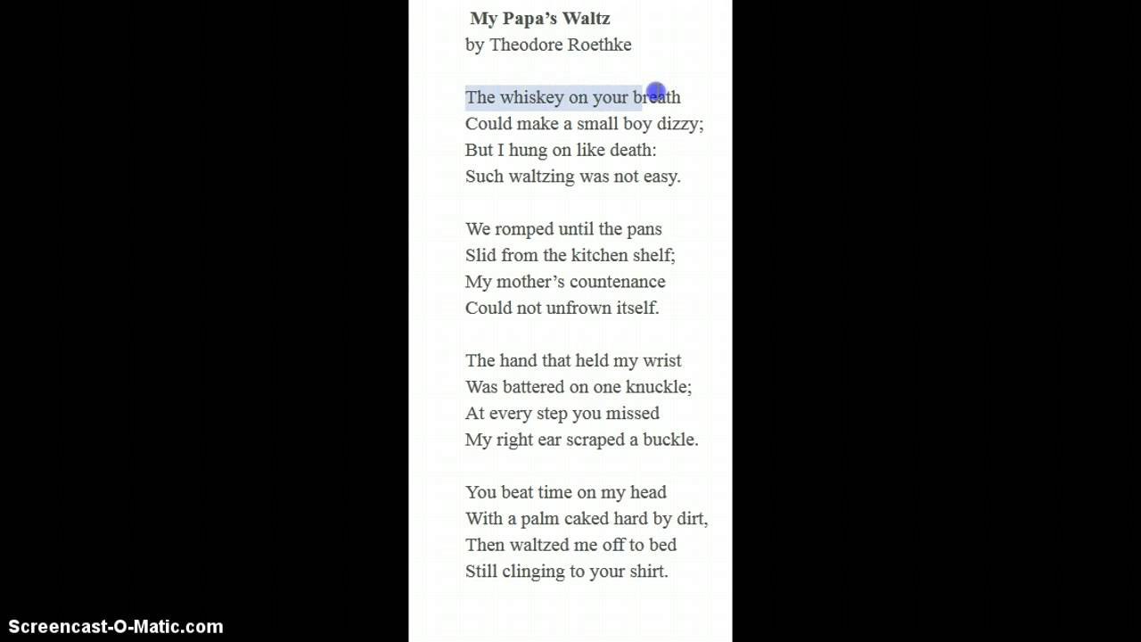My papa s waltz essay