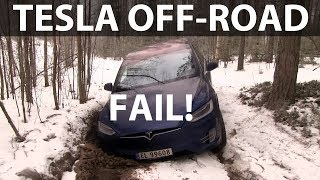 Tesla Model X winter off-roading