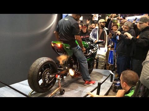 Rickey Gadson Starting His Kawasaki Ninja H2 Drag Bike