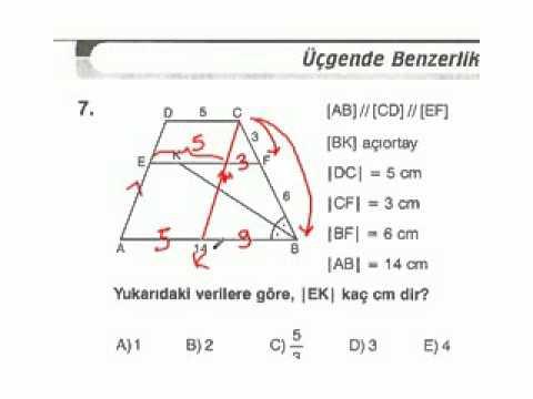 Benzerlik  Üçgenlerde Benzerlik  Üçgende Benzerlik konu anlatımı soru çözümleri   Eğitim  YGS  LYS  SBS  KPSS  Dershane  Ders Videoları izle öss sbs soruları 4