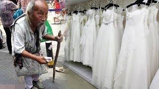 Người đàn ông ăn mày vào cửa hàng váy cưới hỏi mua liền bị nhân viên đu,,ổi ra và cái kết