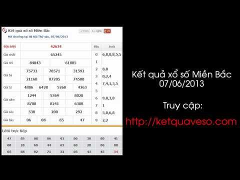 Xổ số Miền Bắc ngày 07/06/2013 - ketquaveso.com