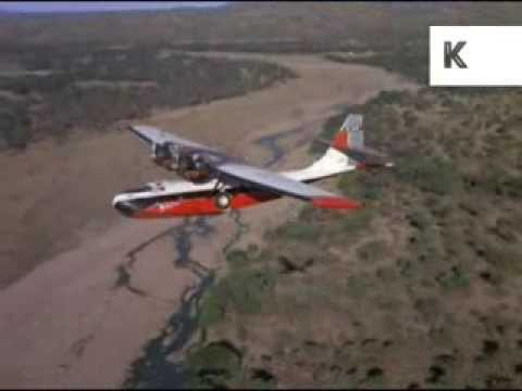 1970s South Africa, Plane Does Aerial Survey, 35mm Archive Footage