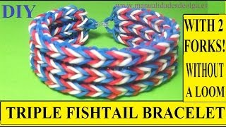 HOW TO MAKE TRÌPLE FISHTAIL BRACELET WITH 2 FORKS