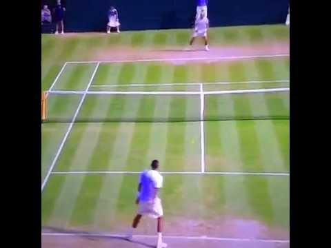 Rafael Nadal v Nick Kyrgios - Wimbledon 2014 AMAZING SHOT!!!