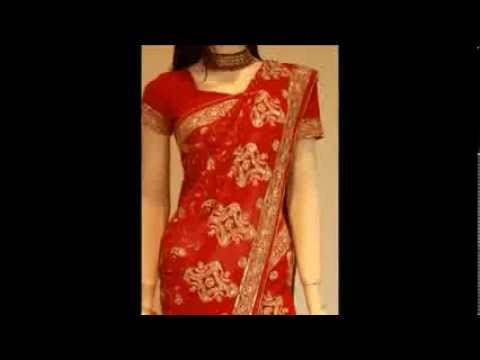 Bright red saree with gold embroidery  bridal