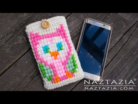 How to Crochet Owl Cell Phone Case - DIY Tutorial Tunisian Cross Stitch For iPhone Android Samsung
