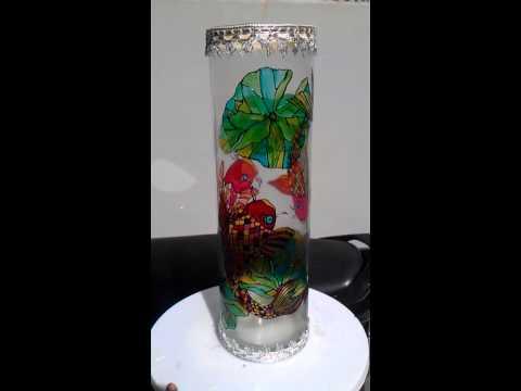 Vẽ thủy tinh: Mẫu bình hoa vẽ Cá Chép - V65