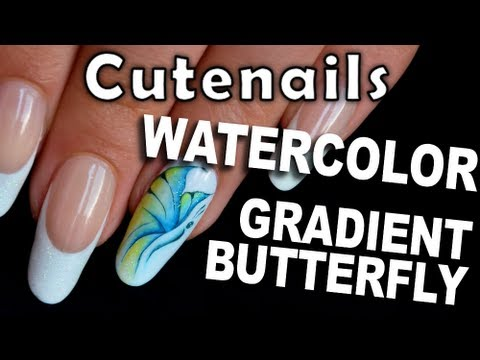 Nail art Butterfly watercolor soft & gradient