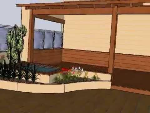 Dise o de terraza con porche estanque y jardineras en - Porche diseno ...