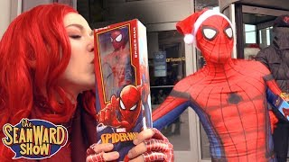 Spider-Man: SPIDER-VERSE CHRISTMAS FLASH MOB!!! Giving Gifts Prank
