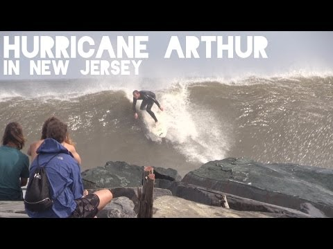Surfing Hurricane Arthur in New Jersey