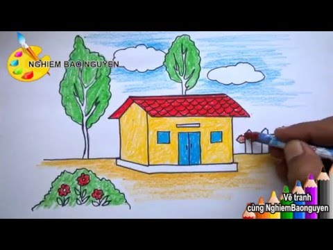 Vẽ tranh ngôi nhà/How to Draw House