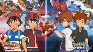 Pokemon Sun and Moon: Alola Ash Ketchum and Champion Vs Gary Oak and Professor Gary