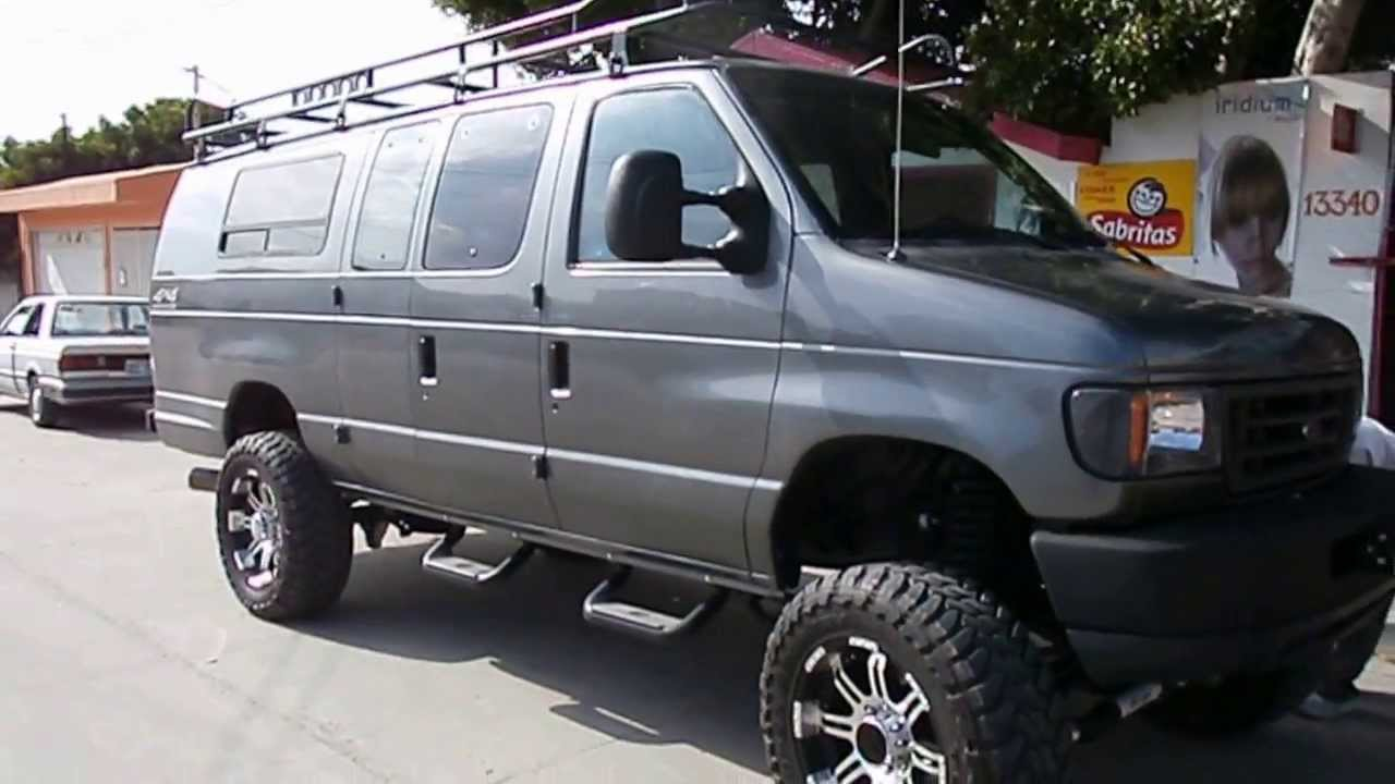 "1995 FORD E 350 DIESEL VAN 4X4 LIFTED ON 35""S"