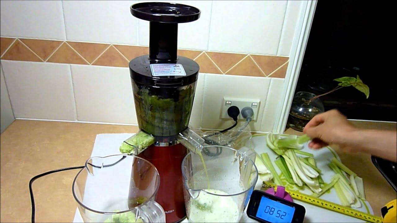 Sharp Slow Juicer Merah Ej C20y Rd : Sharp Slow Juicer EJCP10BJR With Short Celery Sticks - YouTube