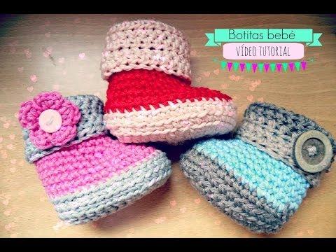 Como hacer unas botitas de bebé de ganchillo - Crochet baby Booties