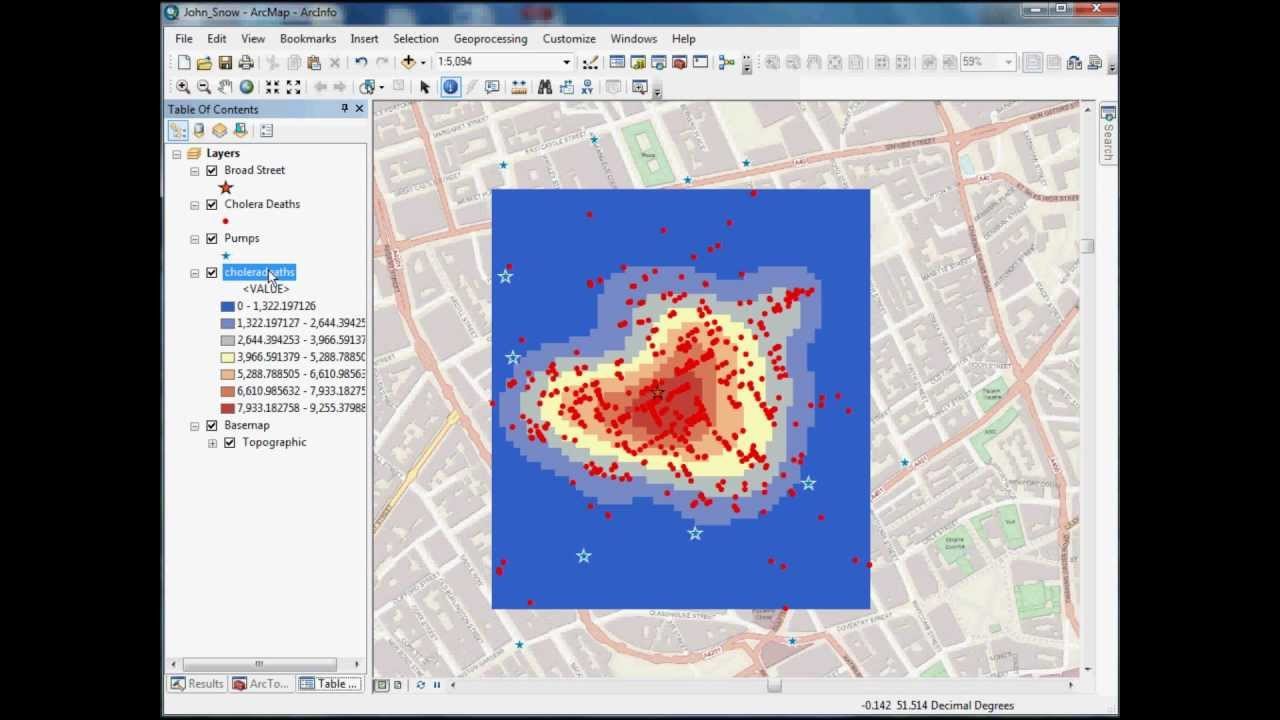 GIS Spatial Analyst Tutorial using John Snow's Cholera ...: http://www.youtube.com/watch?v=isVD8u6WrG4