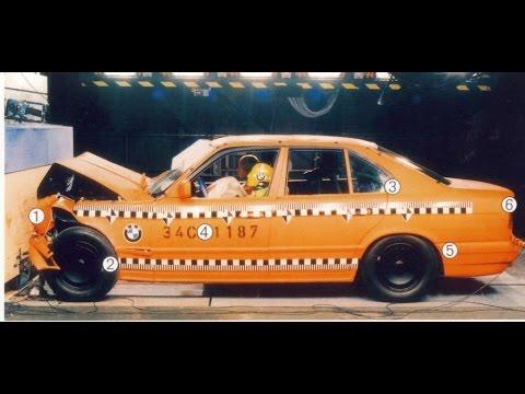 Краш тест BMW E34 против Volvo