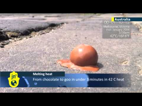 Blistering Australian heatwave melts chocolate
