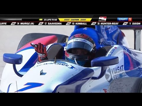 Aleshin Spins @ 2014 Indy Car Detroit Race 1