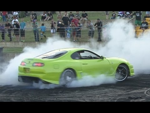 800hp Toyota Supra burnout at Burnout Mayhem 2013