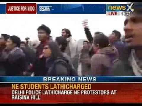 North east students lathi charged over protest on Nido Taniam's death at Raisina hills
