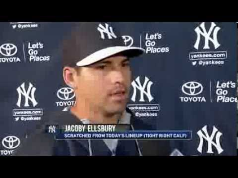Yankees outfielder Jacoby Ellsbury on right calf tightness