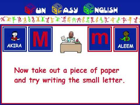 FunEasyEnglish.com Writing English Alphabet Kids Letter M