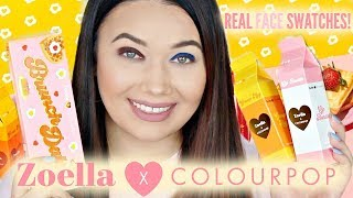 COLOURPOP x ZOELLA Real FACE Swatches! Trying Each Shadow On EYES!