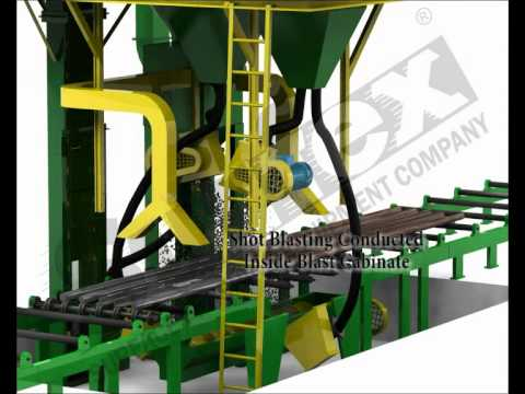 Airless Multiple rod/bar/pipe SAND BLASTING MACHINE, SHOT BLASTING MACHINE