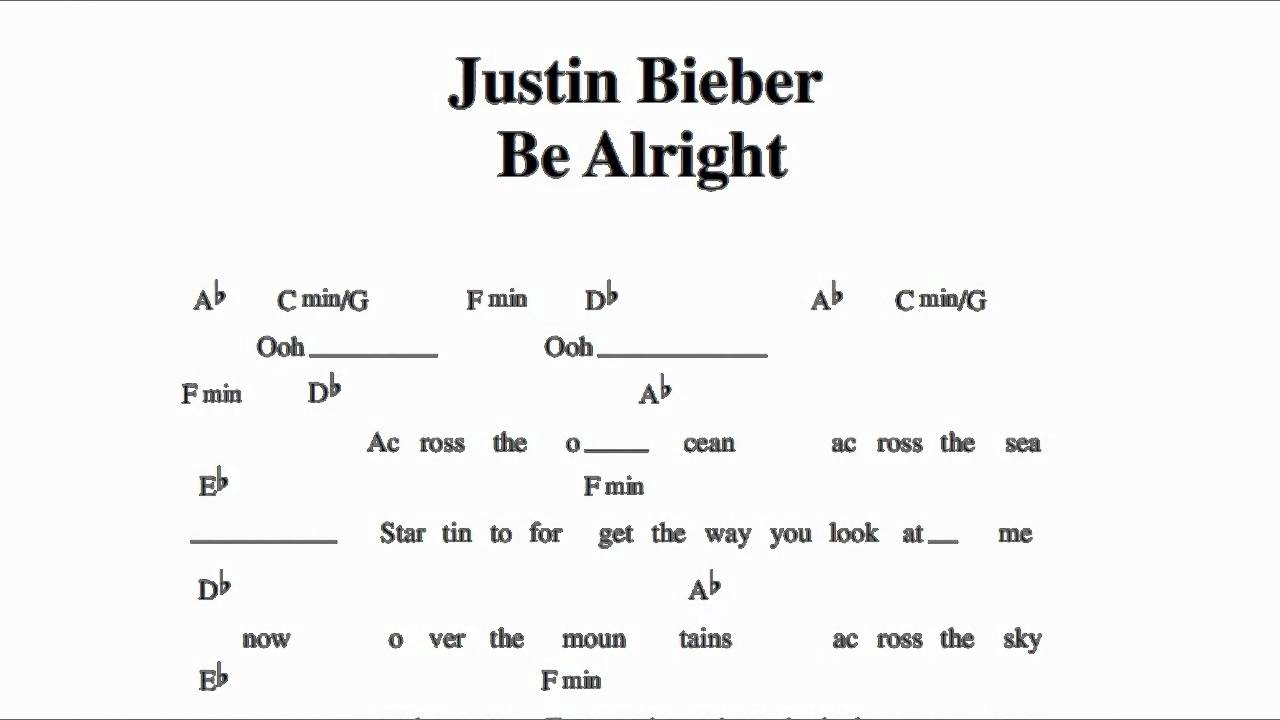 Justin Bieber - Be Alright - Guitar Chords - YouTube