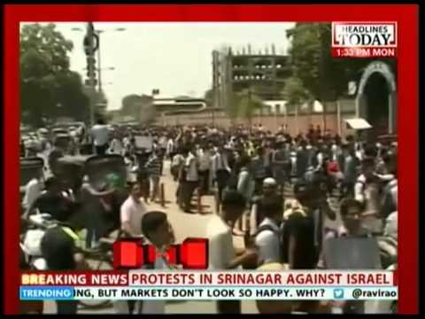 Protests in Shrinagar about Israeli military action in Gaza