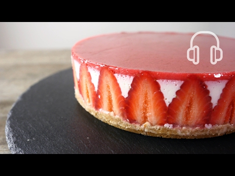 No-Bake Strawberry Cheese cake | ASMR Cooking sounds