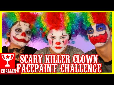 SCARY CLOWN!  FACE PAINT CHALLENGE!  |  KITTIESMAMA
