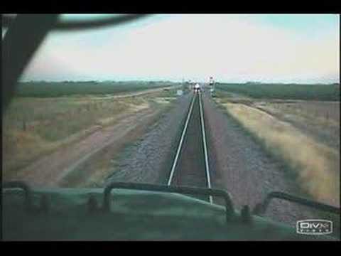 Судир на возови снимен од кабината на машиновозачот