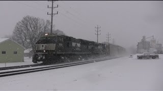 Heavy Snow Fall And Winter Trains On The Norfolk Southern